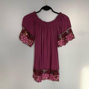 Arden B Floral Hem Top Purple Size XS